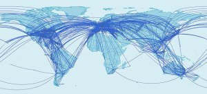 Air routes connecting to and from Africa.