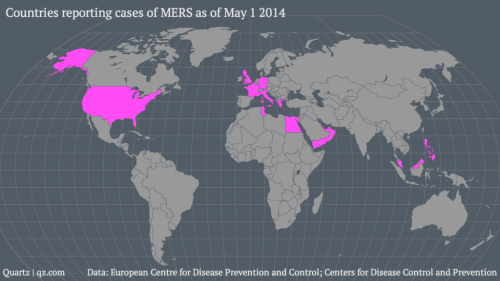 Countries reporting MERS case(s). CDC.