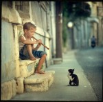 14410-Boy+child+kitten+music+cat