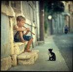 14410-Boy+child+kitten+music+cat